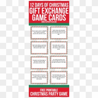 Christmas Decorations Red And Gold Christmas Decorations 12 Days Of Christmas Gift Exchange Game Cards Hd Png Download 432x1024 4818481 Pngfind